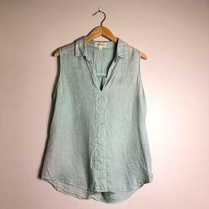 Cloth & Stone Light Blue Linen Top